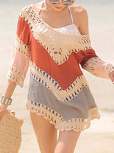 Load image into Gallery viewer, Beach Vacation Hollow 3/4 Sleeve Mask Cover-ups