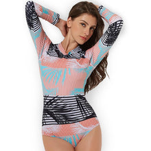 Load image into Gallery viewer, Sexy Conjoined Female Swimwear Print Long-sleeved Thin Surf Diving Suit Swimwear
