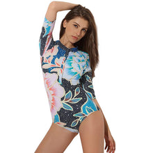 Load image into Gallery viewer, Sexy Conjoined Female Swimwear Hot Spring Long-sleeved Thin Surfing Diving Suit Swimwear