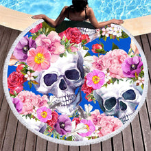 Load image into Gallery viewer, Boho Skull Floral Print Round Yoga Mat Print Tassel Summer Beach Towel