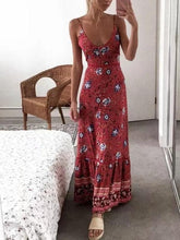 Load image into Gallery viewer, Sling Long Dress Bohemian Retro Print Holiday Wind V-neck Dress