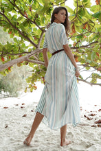 Load image into Gallery viewer, Striped Single-row Buttoned Lapel Short-sleeved Long Dress