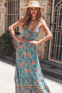 Sling Long Dress Bohemian Retro Print Holiday Wind V-neck Dress