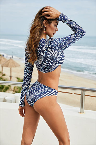 Two Color Long Sleeve Tankini Swimwear Print Long Sleeve Slim Fit Two Piece Swimsuit Set