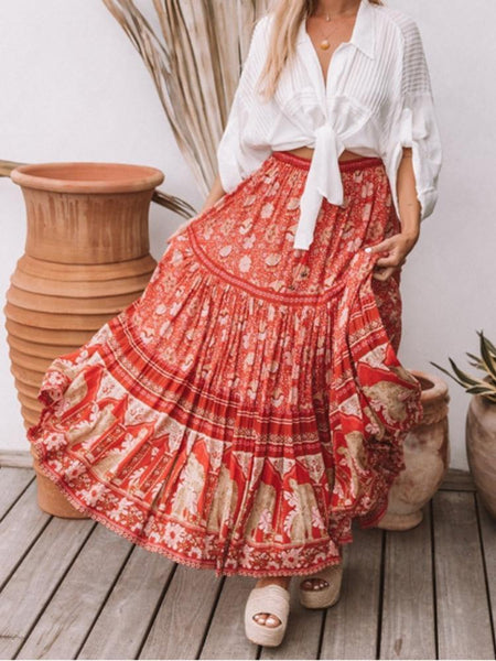Red Vintage Floral Beach Holiday Skirt