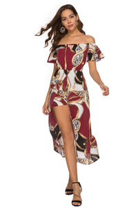 Bohemia Wrapped Trumpet Sleeves Printed Geometric Beach Dress