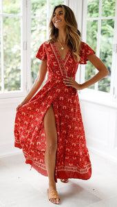 Bohemia Sexy V-neck Printed Beach Maxi Split Dresses