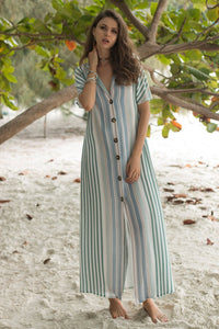 Striped Single-row Buttoned Lapel Short-sleeved Long Dress
