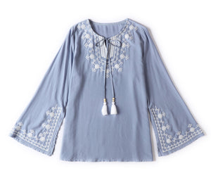 Casual Solid Color Embroidered Round Neck Blouses Tops