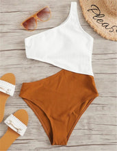 Load image into Gallery viewer, Colorblock Stitching Sexy Strapless One Piece Swimsuit