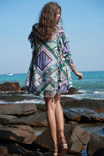 Load image into Gallery viewer, Boho Geometric Pattern Print V-Neck Falbala Sleeves Beach Blouses Tops