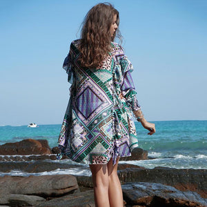 Boho Geometric Pattern Print V-Neck Falbala Sleeves Beach Blouses Tops