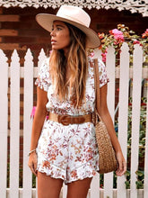 Load image into Gallery viewer, Summer New Boho Women Short-sleeved Drawstring Waist Openwork Lace Stitching Ruffled Print Jumpsuit