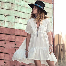 Load image into Gallery viewer, Deep V-neck Ruffled See-through Cover-up Mini Dress