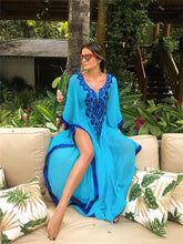 Load image into Gallery viewer, Loose Plus Size Chiffon Embroidered Beach Swimwear Cover-up
