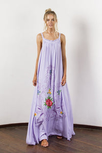 Bohemian Holiday Wind Color Flower Embroidery Strap Sexy Dress
