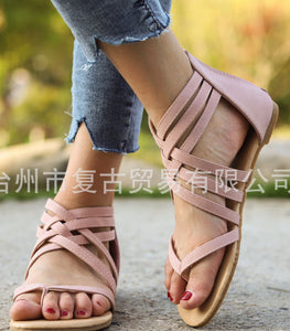 Knitted Toe Roman Sandals Female Summer Flat Large Size Women's Shoes