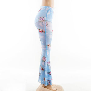 Casual Floral Printed Bell-bottoms Pants