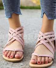 Load image into Gallery viewer, Knitted Toe Roman Sandals Female Summer Flat Large Size Women's Shoes