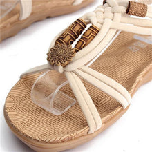 Load image into Gallery viewer, Flower Bead Knitting Clip Toe Slip On Flat Beach Outdoor Sandals