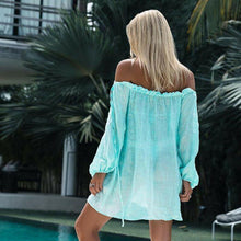 Load image into Gallery viewer, Summer Beach Wear Women Bathing Suits Cover Up Bandeau Solid Free Size New Beach Tunic Pool Party Sexy Fashion Swimwear