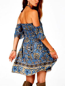 Summer Dress Bohemian Dress Short-sleeved One-shoulder Wrapped Chest Positioning Print Skirt
