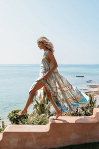 Chiffon Beach Dress Printed V-neck Short-sleeved Bohemian Dress