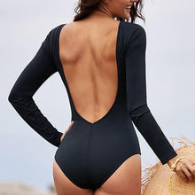 Load image into Gallery viewer, One-piece Swimsuit Female Long-sleeved Cross Hollow Backless Triangle Swimsuit