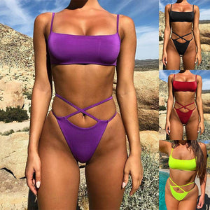 Sexy Solid Color Two-piece Swimsuit Bikini