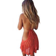 Load image into Gallery viewer, Handmade Crocheted Knit Bikini Backless Sexy Pierced Halter Piece Beach Blouse