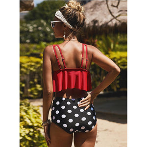Beach Bikini Women Printed Ruffled High Waist Briefs Split Swimsuit