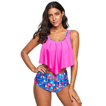 Load image into Gallery viewer, Beach Bikini Women Printed Ruffled High Waist Briefs Split Swimsuit