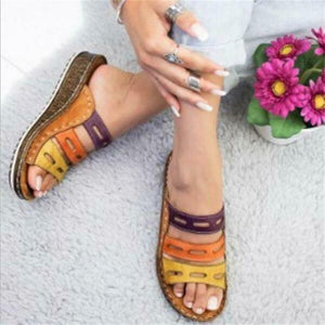 Sandals Female Large Size Wedge with Thick Base Color Matching Ladies Sandals and Slippers