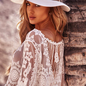 Loose Fit Monochrome Holiday Sunscreen SEXY LACE BIKINI SWIMSUIT Cover Up Beach Pullover Dress