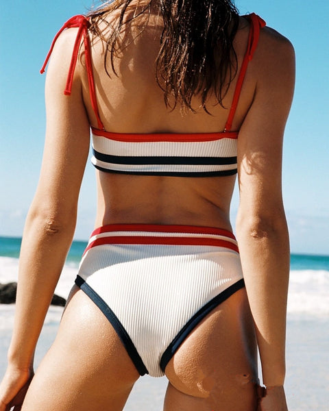 Sexy Female Bikini Small Fresh Striped Split Swimsuit