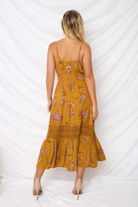 Printed Spaghetti Strap Backless Beach Bohemia Maxi Dress
