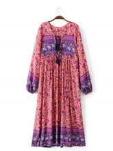 Load image into Gallery viewer, Pink Floral Long Sleeves Maxi Beach Bohemia Dress