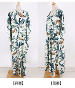 New White Background Leaf Print Beach Loose Seaside Cover up