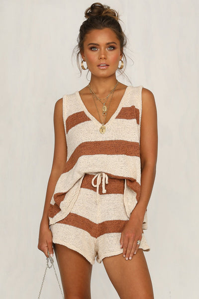 Summer Beach Suit Striped Sweater V Collar Vest Casual
