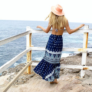 Casual vacation style Bohemian seaside split skirts 3 color