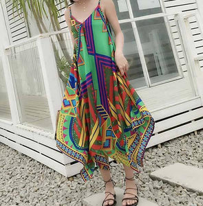 New Printed Spaghetti Strap Beach Summer Dress
