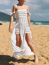 Load image into Gallery viewer, New Sexy Stripe Strapless Backless Irregular Beach Maxi Dress