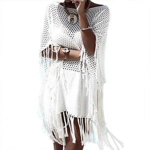 Knit Tassel Hollow Swimwear Beach Bikini Cover Up