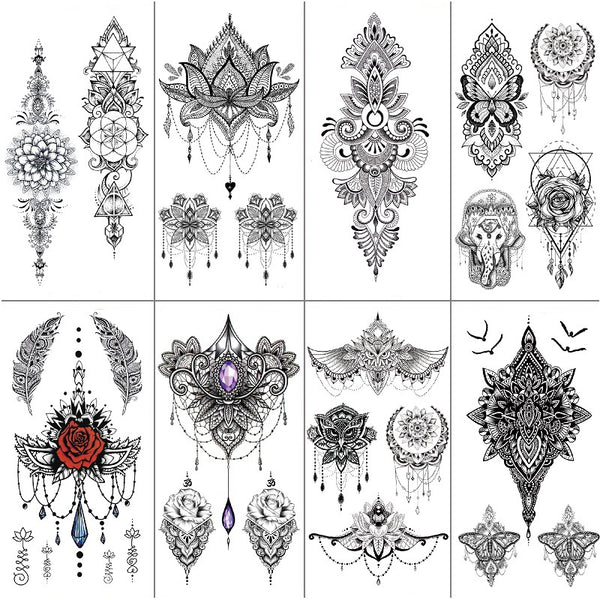 8 In 1 Hand Draw Bohemian Tattoo Stickers Waterproof Sexy Dark Mandola Arm Back Stickers