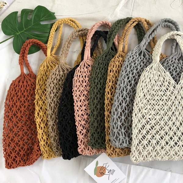 9 Colors Handmade Beach Pure Ins Women's Bag Summer Hollow Mesh Woven Bag Forest Grass Woven Bag Holiday Handmade Cotton Rope Mesh Bag Beach Bag