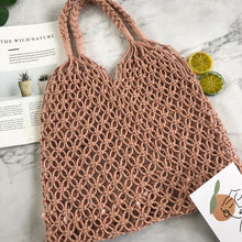 Load image into Gallery viewer, 9 Colors Handmade Beach Pure Ins Women's Bag Summer Hollow Mesh Woven Bag Forest Grass Woven Bag Holiday Handmade Cotton Rope Mesh Bag Beach Bag