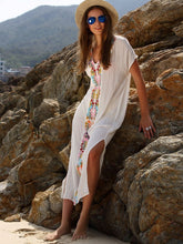 Load image into Gallery viewer, Beautiful White Bohemia Short Sleeve Deep V Neck Beach Maxi Dress