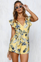 Load image into Gallery viewer, Printed V Neck Belted Backless Rompers