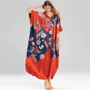New Imitation Silk Irregular Printing Beach Cover up