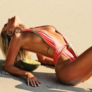 Sexy One-piece Double-sided Solid Color Bandage Personalized Bikinni Swimwear